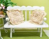 Lace Pillows Pair Ecru Handmade Antique 1:12 Dollhouse Miniature Artisan
