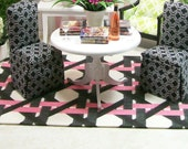 Pink Black Rug Carpet Geomtric Dollhouse Miniature 1:12 Scale Artisan
