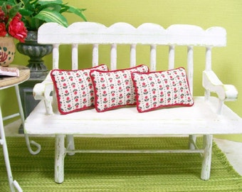 Red Tulip Pillows Three 1:12 Dollhouse Miniatures Inch Scale Artisan