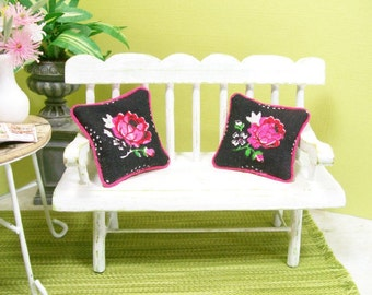Cabbage Roses Pillows Hot Pink Black 1:12 Dollhouse Miniature Artisan