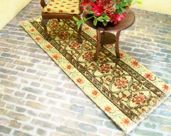 Runner Brown Carpet Rug Persian Oriental 1:12 Dollhouse Miniatures Artisan