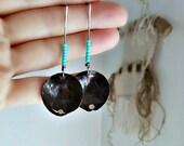 Rustic Bohemian Earrings, Egyptian, Medieval, Tribal Earrings, Southwestern, Copper, Sterling Silver, Turquoise Beaded Earrings,