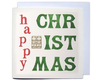 Letterpress Christmas Greetings Card - Happy Christmas