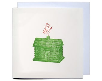 Letterpress Christmas Greetings Card - Log Cabin