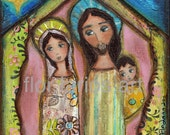 Nativity Night  -  Giclee print mounted on Wood (8 x 8 inches) Folk Art  by FLOR LARIOS