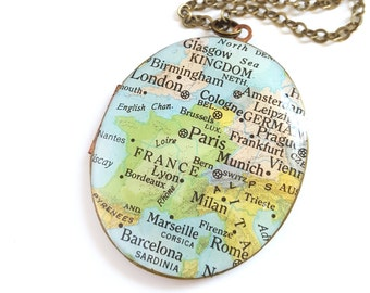 Europe Map Necklace on a Large Brass Locket, Vintage Oval Locket, Vintage Map, Paris, London, Prague, Milan, Gift for Her, Ready to Ship