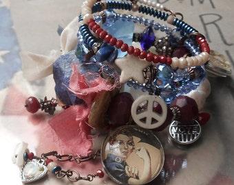 Let the White Dove Sing Patriotic BOHO Gems Wrap  bracelet