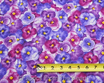 Viola Violets Flower Garden Packed BY YARDS Timeless Treasure Cotton Fabric