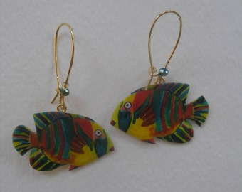 Signed Stephen Dalton Half Baked Ideas Fish Earrings Kidney Wires