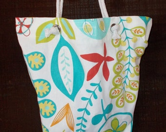 """Bag/Purse-16 x 13 inch-""""Going Too"""" Bag---Leaves and Vines on White"""