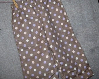 Pajama Pants--Soft Brown with Polka Dots in Lavender, Pink and White Flannel   Size 2 Toddler