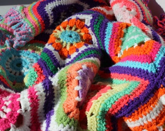 Vintage Granny Square Multi Colored Afghan Bright Colors Hand Made Throw