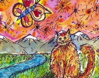 Happy Birthday, Cat Birthday Card, Birthday Cat, Watercolor Cat, Watercolor Card, Hand Painted Card, Handmade Card, Butterfly Birthday Card