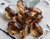 AMBER BARREL TWIST .. 10 Premium Picasso Czech Glass Beads 6x12mm (4602-10)