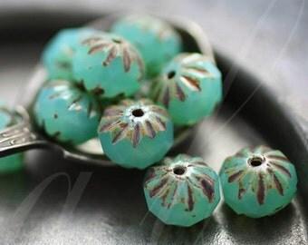 10% off LAGOON CRULLER .. 10 Picasso Czech Glass Cruller Beads 9x6mm (2813-10)