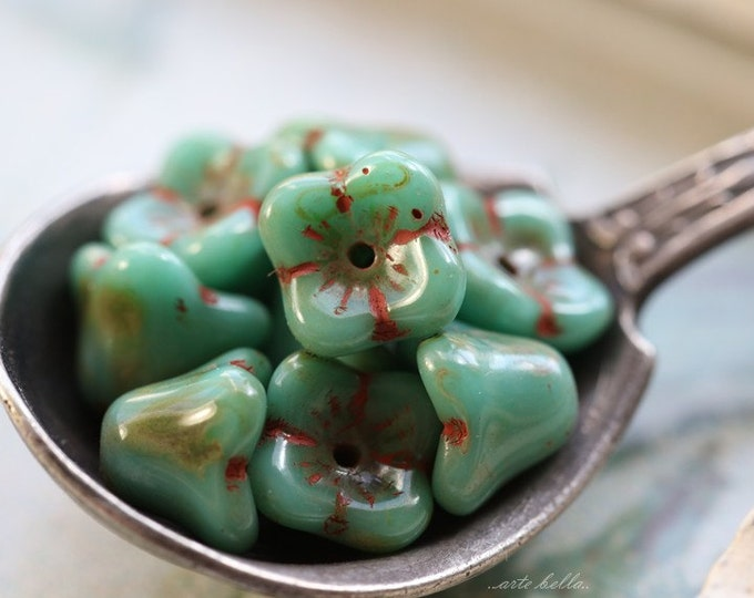 TURQUOISE BUDS .. 10 Picasso Czech Glass Flower Beads 6x7mm (4815-10)