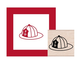 Fireman Hat Rubber Stamp