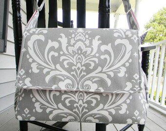 Gray and Baby Pink Diaper Bag, Baby Girl Diaper Bag  Messenger Style Diaper Bag with Adjustable Strap Damask Gray and White