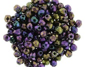 2mm Iris - Purple , Faceted Round Beads, Fire polish Czech Glass, Sold 50 Piece Strand