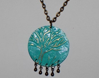 Brass Patina Tree of Life Pendant Necklace, Brass Chain, Boho, Vintaj, Embossed