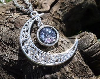 "Necklace ""The Night"" Celtic Moonlight Black Night Starry Sky"