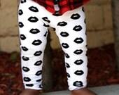 Baby Girl Baby Boy Black and White Lips Print Leggings, Kisses, Valentine's Day, Etsy kid's fashion, Toddler Boy Toddler Girl, Valentines