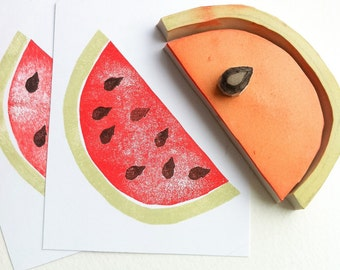 watermelon hand carved rubber stamp set, handmade rubber stamps