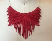 Red Suede Fringe Necklace