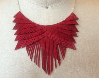 Red Suede Fringe Necklace