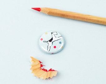 Flying Fox Terrier Dog Button Badge