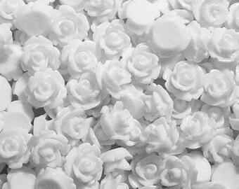Cabochon Flower 20 Resin Round Rose Wedding White Flower 10mm (1017cab10m8-2)