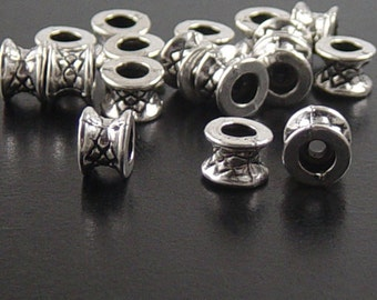 CLEARANCE Bead Spacer 50 Antique Silver Round Tube Victorian 7mm x 5mm NF (1085spa07s2)os