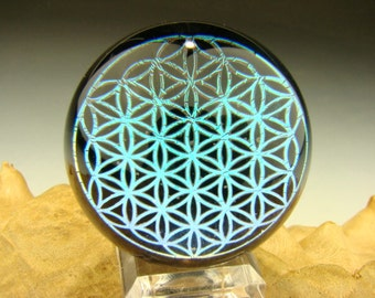 Flower of Life Dichroic Glass Marble Sacred Geometry Fractal paperweight by KT (made to order)
