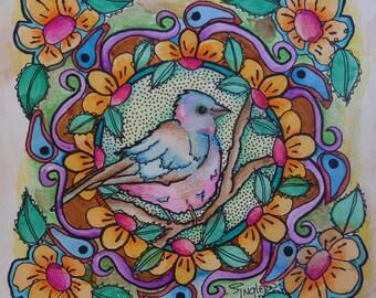 Mockingbird, Mockingbird Art, Bird mandala, nature mandala, Original Art, Mandala Art, Freestyle mandala, freehand mandala, singleton art