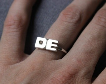 Monogram ring,  Custom Initial Letter ring,  Personalized Sterling silver, Personalized Jewelry,  Name ring, Made to order