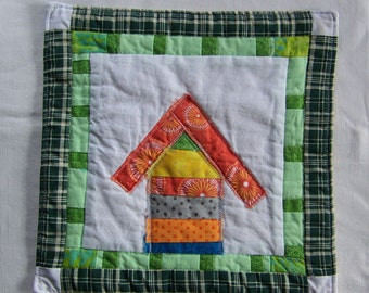 Crazy Town Bright Scrappy Cottage  Mini Quilt  Mug Rug or Coaster #5
