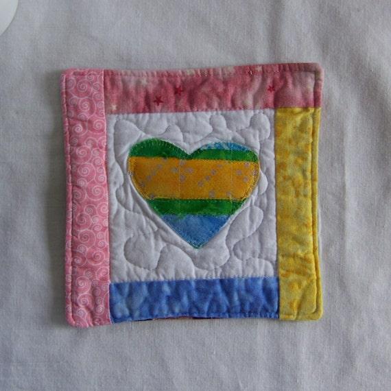 Scrappy Bright Batik Hearts Mug Rug/Coaster 22