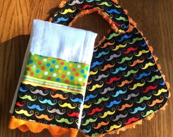 Multi Colored Mustache Minky Baby/Toddler Bib and Burp Cloth Set