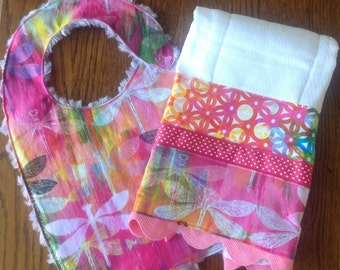 Pink and Purple Dragonfly Minky Baby/Toddler Bib and Burp Cloth Set