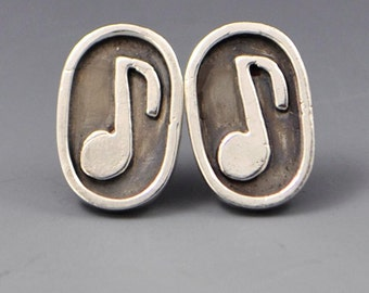 Harmony- Music Note Sterling Silver Stud Post Wire Affirmation Earrings by Dana Evans Studio