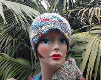Crochet Winter hat grey green red yellow blue