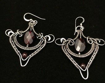 Fine silver and garnet earrings