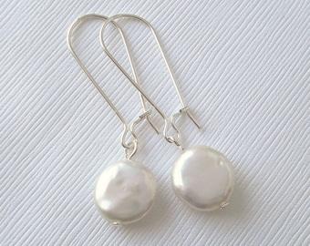 Sterling Silver Coin Pearl Earrings