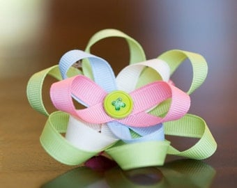 """Stacked 3"""" Multi-Colored Light Pastel Loopy Bow"""