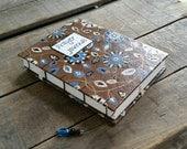 Medium Coptic Stitch Brown Floral Blank Prayer Journal, Hand Stitched Christian Prayer Journal, Blue Mandala Faith Journal, Personal Diary