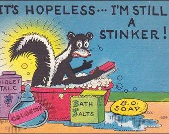 Skunk postcard - Stinky Skunk, Animal Wild life watercolor vintage postcard vintage postcard, SharonFosterVintage