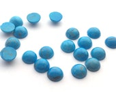 12 Pieces Natural Howlite Dyed Turquoise Cabochons-8mm (08HTRQ)(B-5-26)