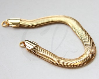 One Piece Premium Gold Plated Hand Linked Finished Chain- Snake 155x8mm (HKSNBD8-08-U-353)