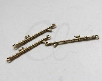 2pcs Antique Brass Links - Bamboo 31.6x7.6mm (3693C-M-400)