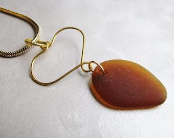 Wire Heart - Brown Sea Glass Pendant - Beach Glass Pendant